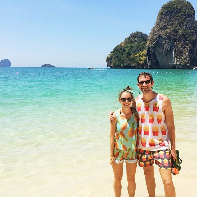 East Railay Beach—with a side of tropical pineapple fries. These outfits are what I got us for Valentine's Day.