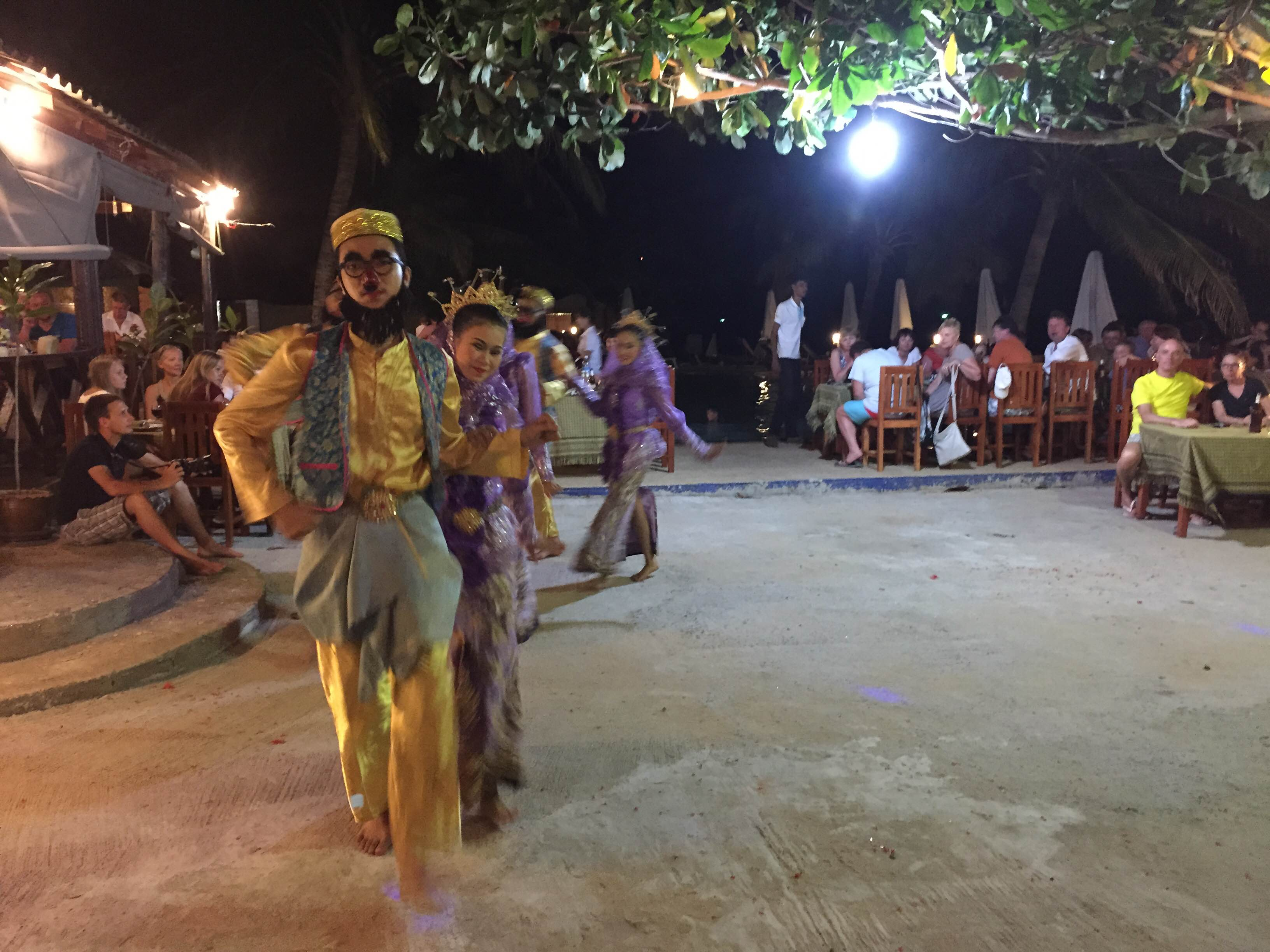 That part of the dinner show where Thai boys dressed up as middle eastern men (wearing the Groucho Marx glasses, except that the noses were cherry red) holding their beards and watching women dance and do work—soooo strange.