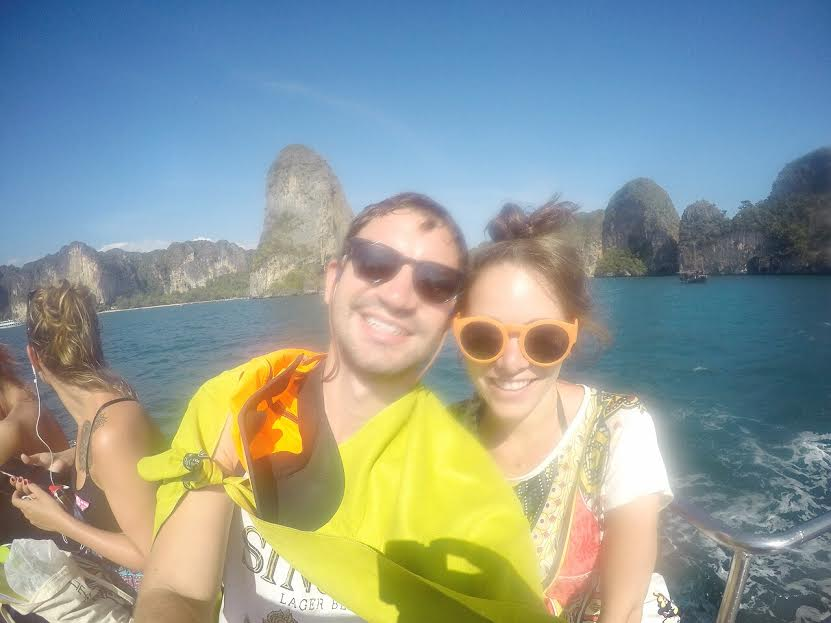 Our first view of Railay from the ferry (we happen to be in it).  Please excuse GoPro clarity.