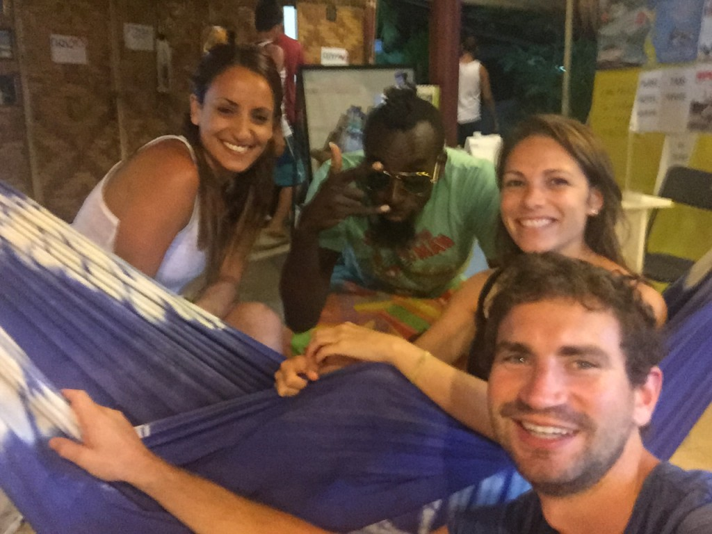 Us at Habayit HaYisraeli in a hammock with Steve of Sababa Tours and Avivit (from Israel).