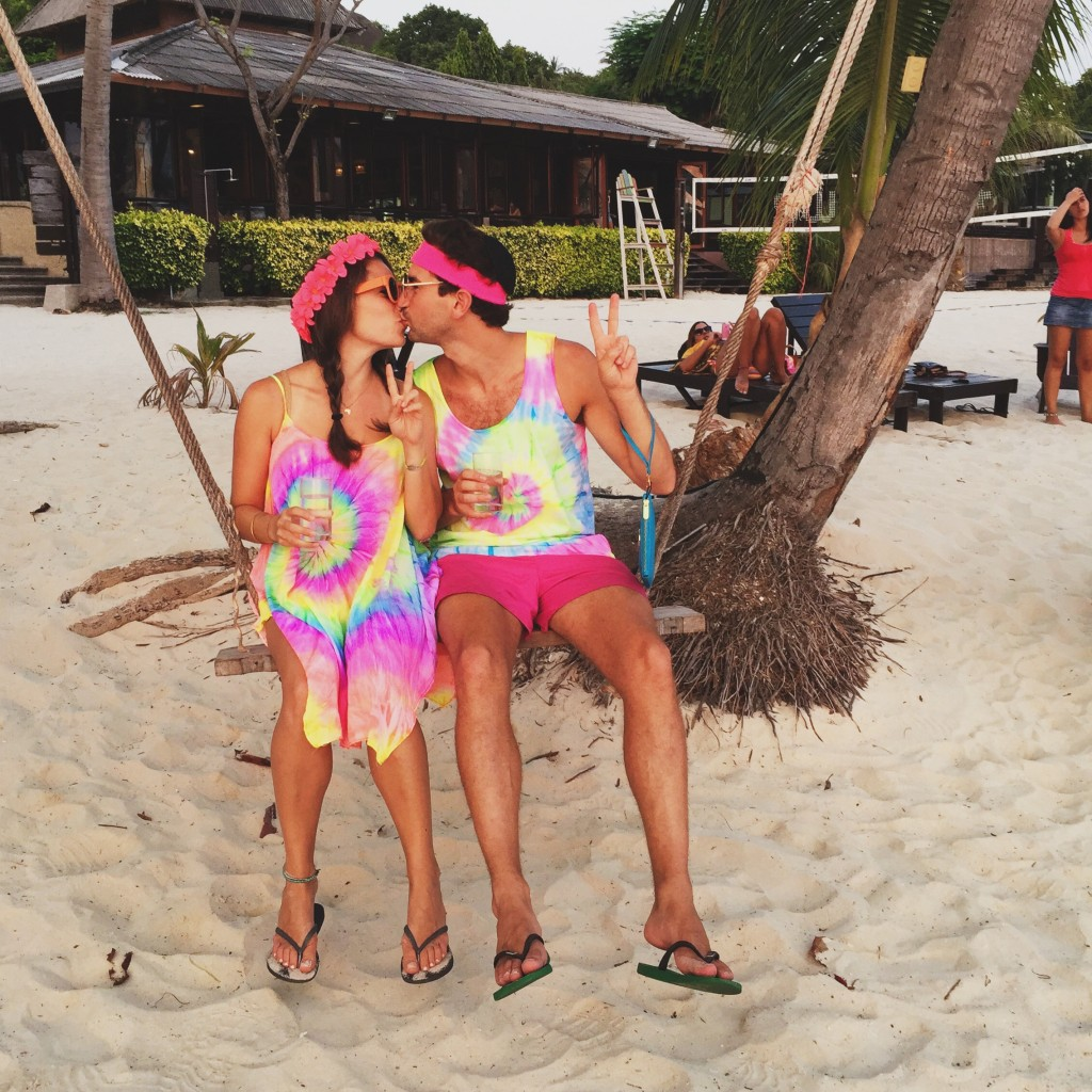Chag Purim Sameach—Hippies were as creative as we could get because the only clothing for sale on Ko Phangan is neon or tie dye. Also an Israeli friend at the Cocohut directed this photoshoot (with the sunset in front of us).