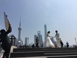 Wedding photos at the Bund, Shanghai