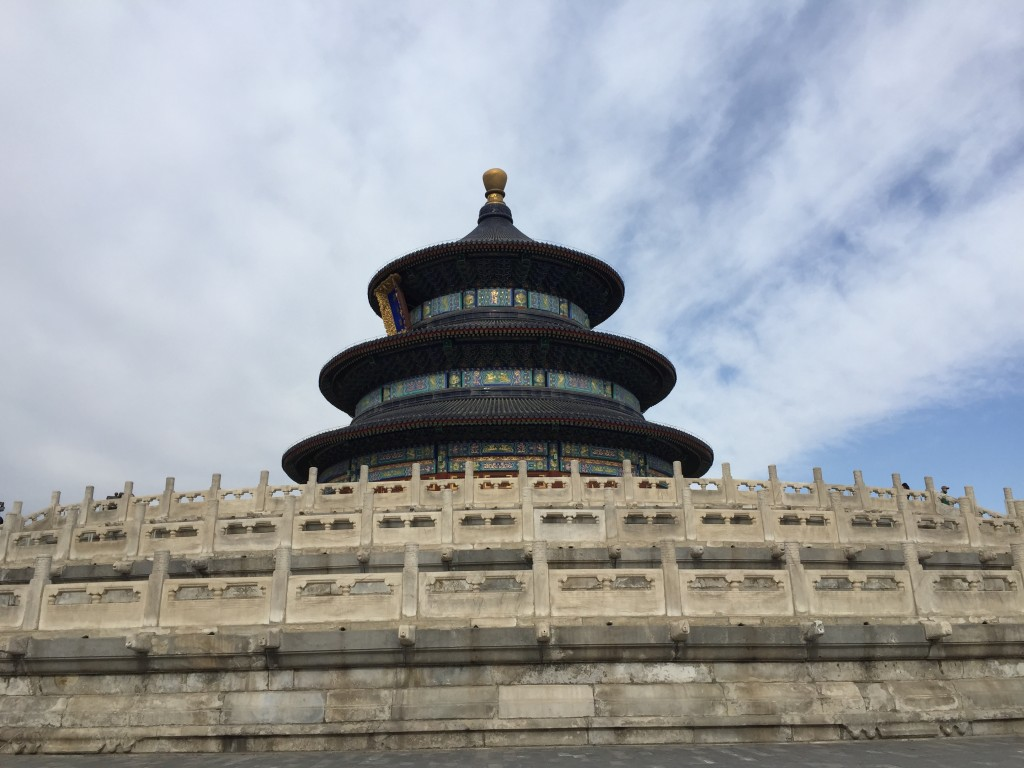 The Temple of Heaven has three levels (the highest one to represent heaven, the middle one to represent humans, and the lowest one to represent the earth).