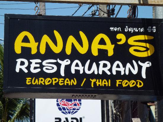 Anna's Restaurant (the sign is written in Disney's Aladdin font—definitely legal).