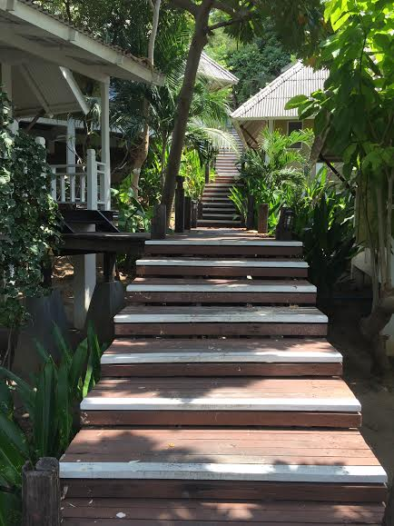 Stairs up to our bungalow wat.