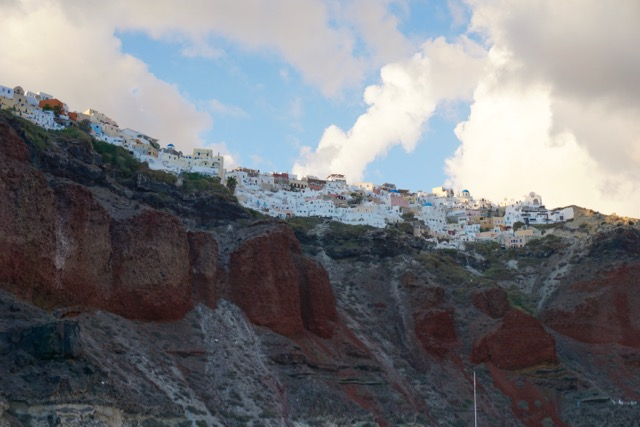 Cliffside views of Fira