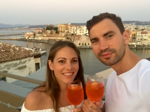 Enjoying a Aperol Spritz's from the roof of our hotel