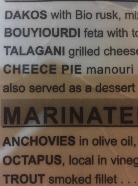"Menu Funnies: ""Cheece Pie"", ""Marinate"" ""Octapus"""