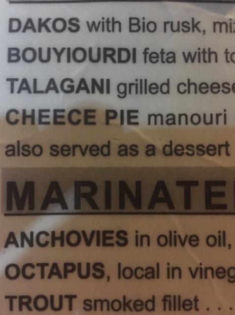 "Menu Funnies: ""Cheece Pie"", ""Marinate"" ""Octapus"""