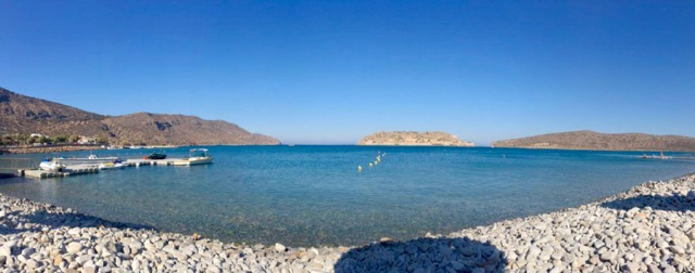 Views of Spinalonga from the Blue Palace Beach